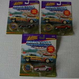 3 Vintage Johny Lighting Cars 1995 Funny Cars